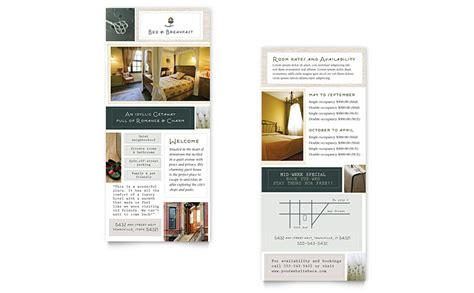 rack card template size bed breakfast motel rack card template word publisher