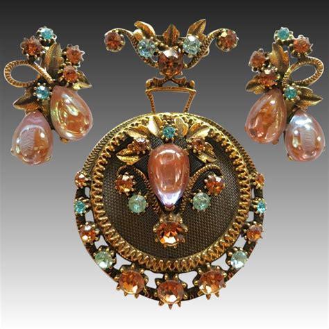 Florenza Set vintage florenza saphiret sappharine rhinestone brooch set