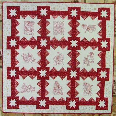 Redwork Quilt by Nativity Redwork Quilt Advanced Embroidery Designs