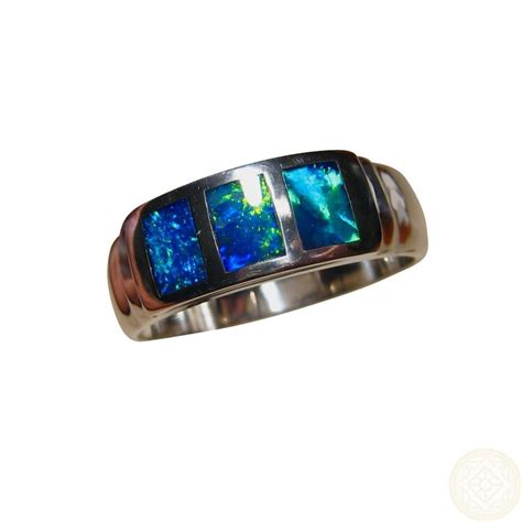 real blue opal opal ring 925 silver blue green silver inlay opal rings