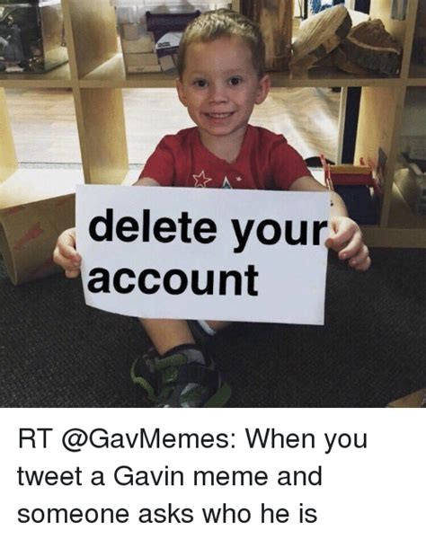 Delete Meme - delete your account rt when you tweet a gavin meme and