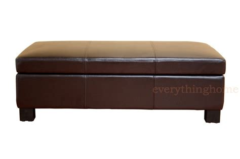 genuine leather storage ottoman dark brown large rectangle bonded leather storage ottoman