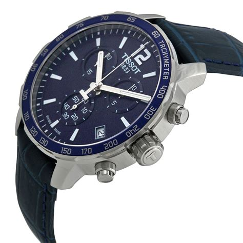 tissot quickster chronograph blue blue leather s