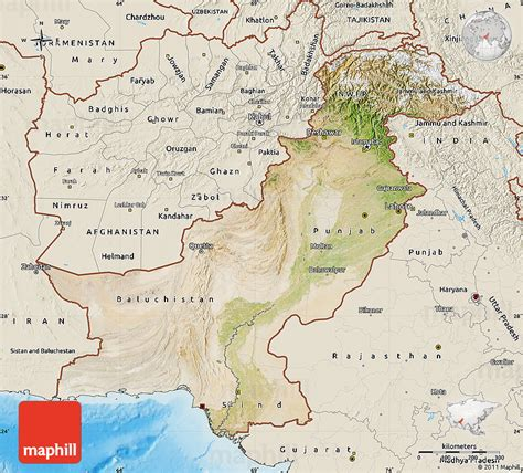 pakistan map satellite satellite map of pakistan shaded relief outside