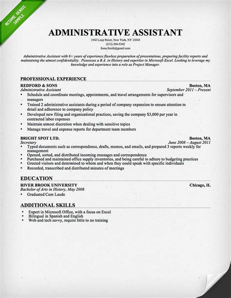 Resume Template For Administrative Assistant by Administrative Assistant Resume Sle Resume Genius