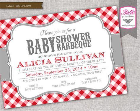 backyard baby shower invitations items similar to gingham bbq baby shower invitation diy
