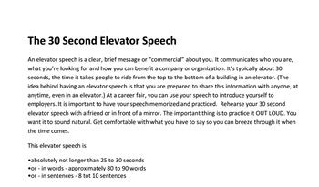 sle of elevator speech the elevator speech how to write a speech to sell yourself in 30 seconds