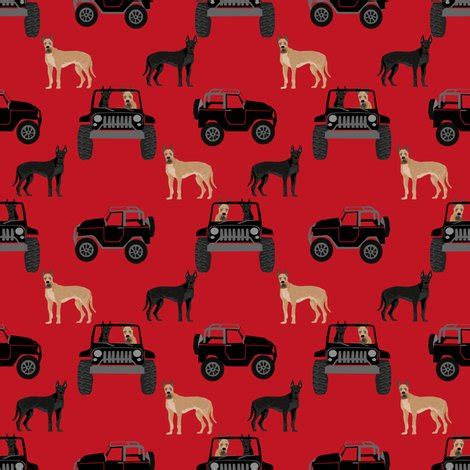 great dane in jeeps fabric cute dogs fabric black and