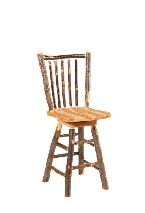 rustic hickory bar stools amish rustic cabin hickory stick back swivel bar stool