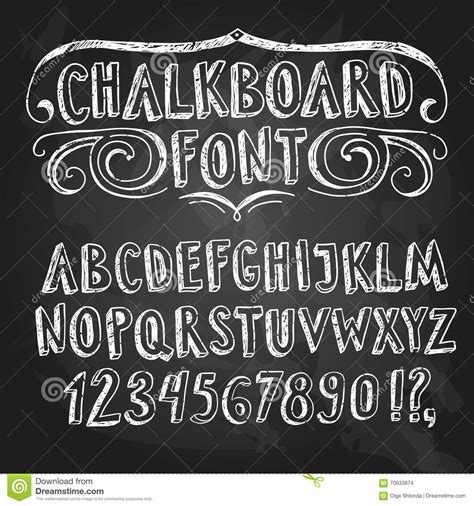 design font blackboard hand drawn chalkboard font with figures stock illustration