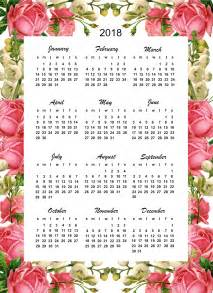 2018 Year At A Glance Calendar Printable Free Printable 2018 Calendar Quot Roses Quot Year At A Glance