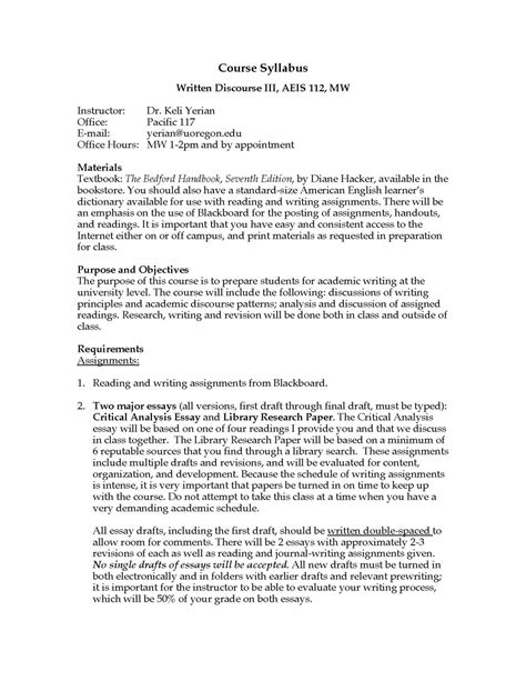 High School Astronomy Course Outline by Exle Of High School Course Syllabus Designing A Course The Teaching Centersle Syllabus