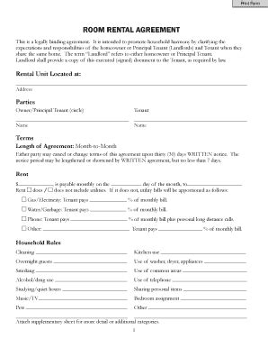 occupancy agreement template occupancy agreement form for room rent fill