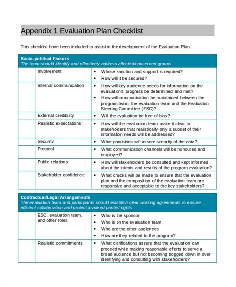 project evaluation checklist template project assessment template 8 free word pdf document
