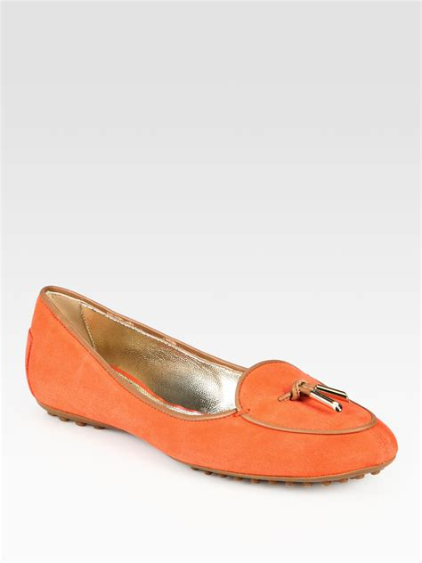 orange leather loafers tod s suede leathertrimmed loafers in orange lyst