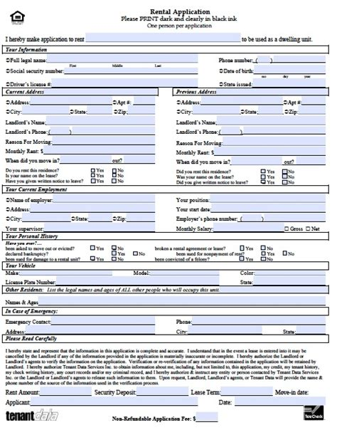 Template For Rental Application rental application form free printable documents