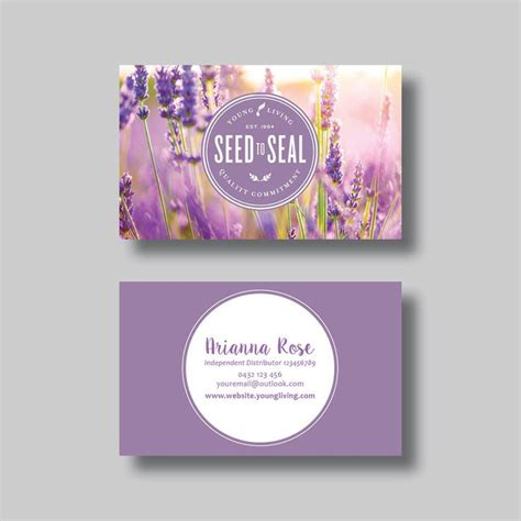 line young living business card template drawing flowers young