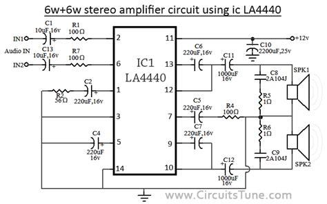 6w 6w audio stereo lifier circuit using ic la4440 reekn