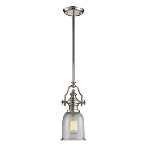 Lowes Lighting Pendant Shop Westmore Lighting Drayford 7 In W Polished Nickel Ribbed Mini Pendant Light With Clear