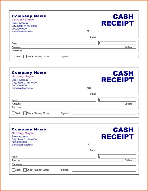 nice money receipt template format for ms word excel