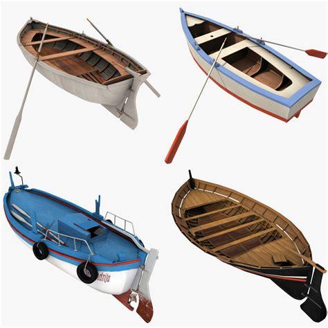 row boat model 3d wooden row boats model turbosquid 1221456
