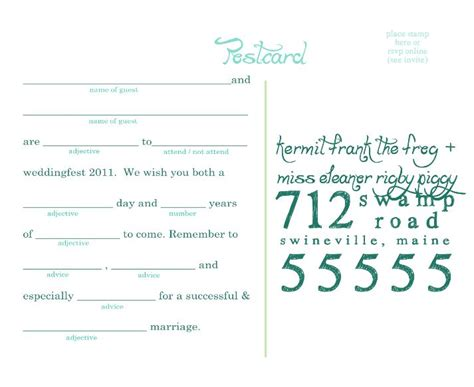 Mad Libs Rsvp Card Template by 17 Best Images About Wedding Mad Lib Rsvp On
