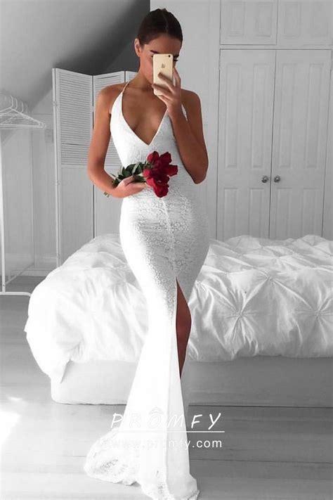 white lace spaghetti straps open  slim fit mermaid