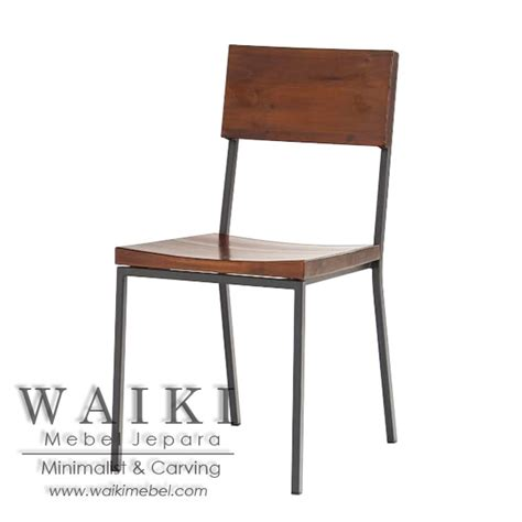 Kursi Besi Metal kursi cafe kayu besi minimalis iron wood dining chair