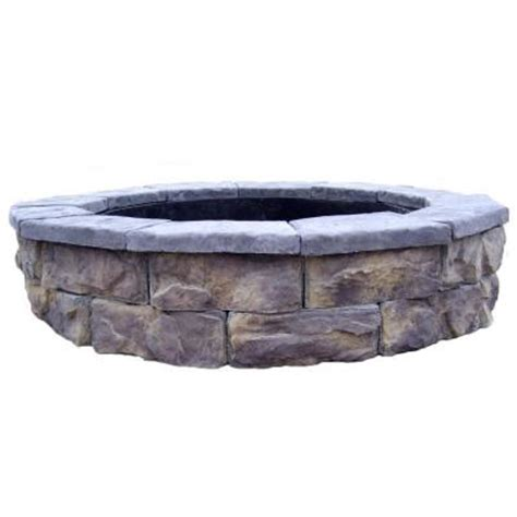 Fossill Stone 30 In Concrete Fossill Limestone Fire Pit Home Depot Firepits