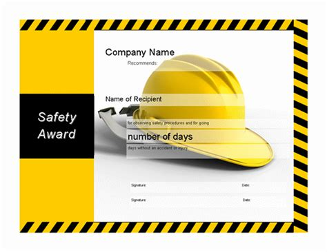 safety recognition certificate template safety award certificate memes