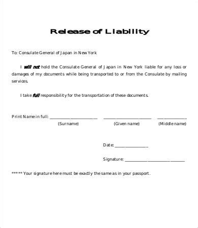 release of liability form template 8 free sle