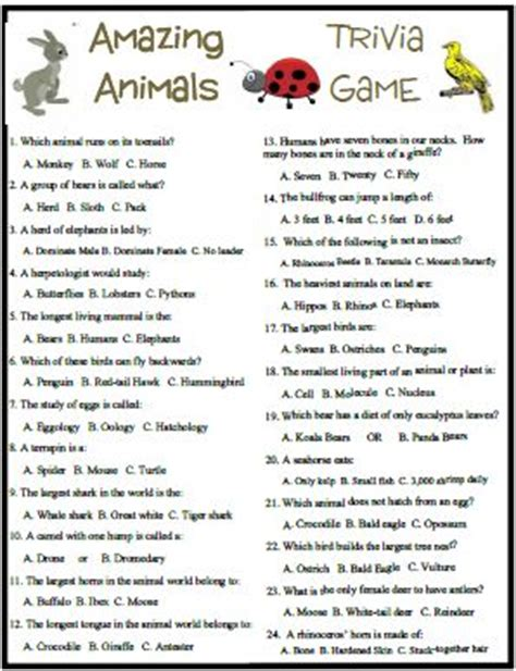 printable animal trivia these kids party games are all party favorites for any event