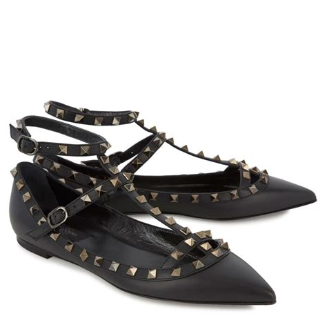 valentino shoes flats valentino rockstud leather ballet flats in black lyst