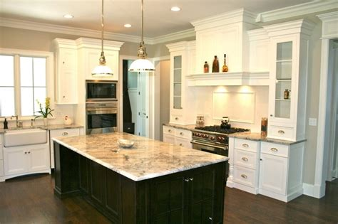 dark wood kitchen island love the white cabinets dark island kitchen design