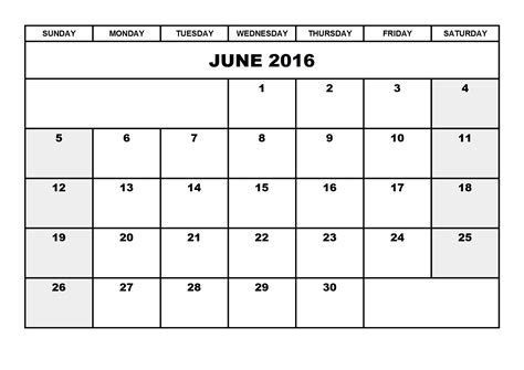 Blank Calendar Template 2016 Printable
