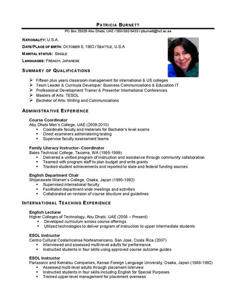 resume format for foreign international business international business graduate cv