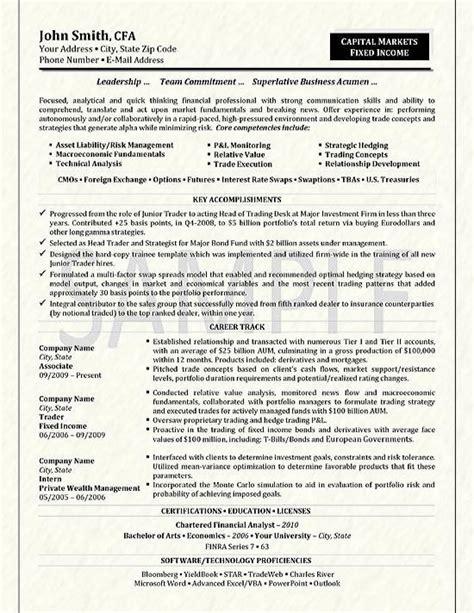 trader resume exle
