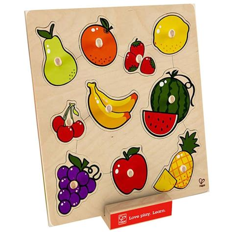 Wooden Knob Puzzles by Fruit 10 Pc Knob Wooden Puzzle Educational Toys Planet