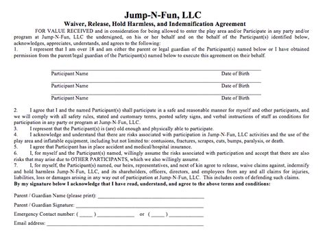 Bounce House Waiver Template Waiver Jump N Fun