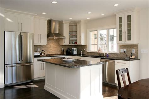 small kitchen ideas pictures displaying rectangle black white kitchen island   shaped kitchen cabinet including stainless steel refriger