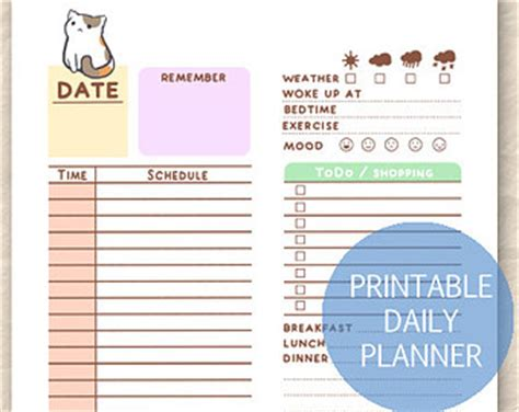 printable daily planner cute 7 best images of printable kawaii to do list template