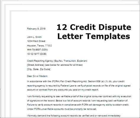 credit dispute letter template template design