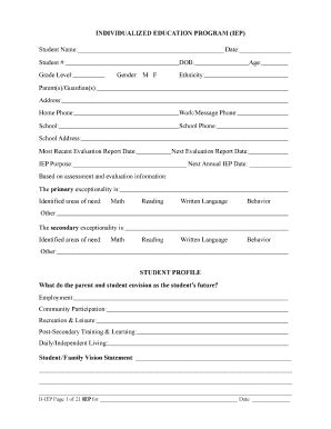 blank iep template the iep form filled in fill printable fillable blank pdffiller