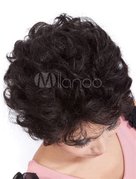 black human curly fall fashion black short curly human hair wig milanoo com