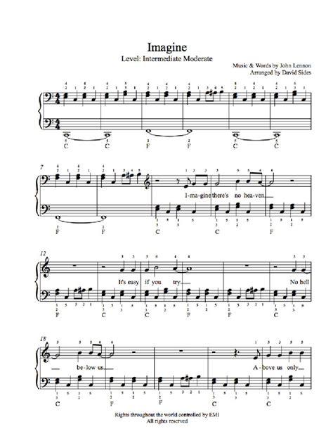 imagine lennon testo imagine by lennon piano sheet intermediate