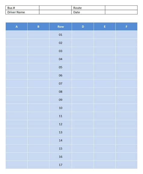school bus seating chart template free microsoft word