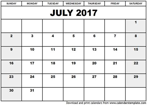 Personalized Calendar Template by July 2017 Calendar Template
