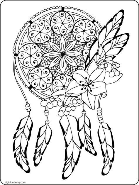 coloring pages for adults etsy dream catcher adult coloring page by triginkart on etsy