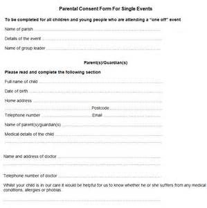 parental consent form template sle parental consent form free premium templates