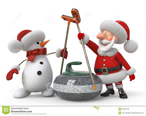 curling game sport royalty free cartoon cartoondealer santa claus and snowman plays curling stock illustration